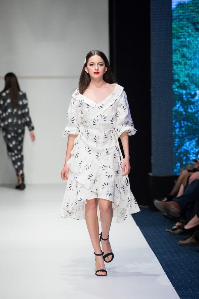 Crane pattern dress