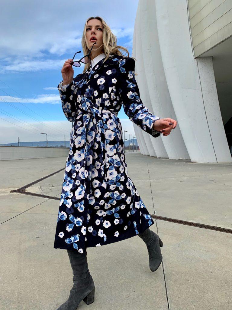 Blue Jack pattern design on coat