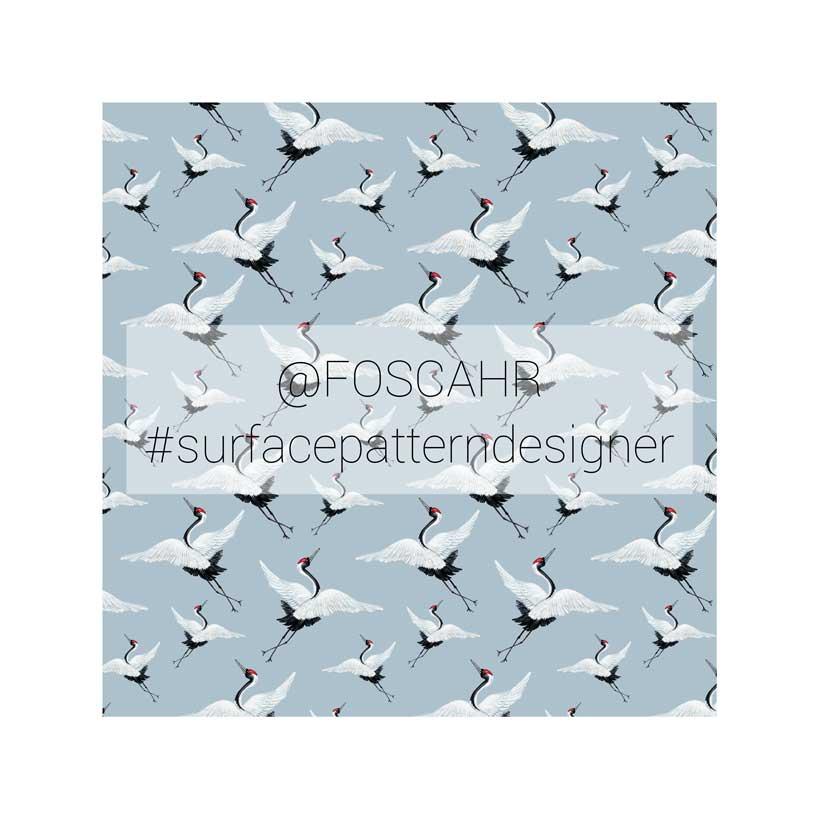 watercolor pattern design blue crane