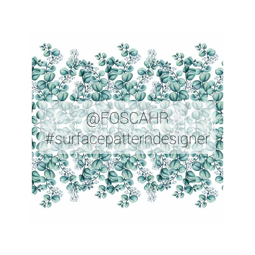 watercolor pattern design eucaliptus